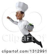 Clipart Of A 3d Young Black Male Chef Holding A Blackberry And Flying Up To The Left Royalty Free Illustration