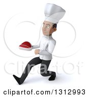 Clipart Of A 3d Young Black Male Chef Speed Walking To The Left And Holding A Beef Steak Royalty Free Illustration