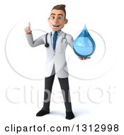 Clipart Of A 3d Young Brunette White Male Doctor Holding Up A Finger And A Water Droplet Royalty Free Illustration