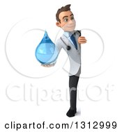 Clipart Of A 3d Full Length Young Brunette White Male Doctor Holding A Water Droplet Around A Sign Royalty Free Illustration