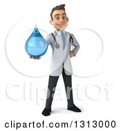 Clipart Of A 3d Young Brunette White Male Doctor Holding Out A Water Droplet Royalty Free Illustration by Julos