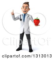 Clipart Of A 3d Young Brunette White Male Nutritionist Doctor Holding Up A Finger And A Strawberry Royalty Free Illustration