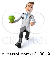 Clipart Of A 3d Young Brunette White Male Nutritionist Doctor Speed Walking And Holding A Green Bell Pepper Royalty Free Illustration