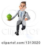 Clipart Of A 3d Young Brunette White Male Nutritionist Doctor Sprinting And Holding A Green Bell Pepper Royalty Free Illustration