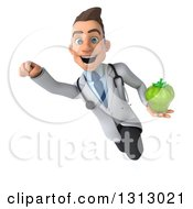 Clipart Of A 3d Young Brunette White Male Nutritionist Doctor Flying And Holding A Green Bell Pepper Royalty Free Illustration