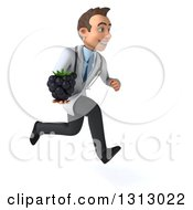 Clipart Of A 3d Young Brunette White Male Nutritionist Doctor Sprinting To The Right And Holding A Blackberry Royalty Free Illustration