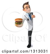 Clipart Of A 3d Full Length Unhappy Young Brunette White Male Nutritionist Doctor Holding A Double Cheeseburger Around A Sign Royalty Free Illustration