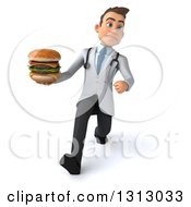 Clipart Of A 3d Unhappy Young Brunette White Male Nutritionist Doctor Speed Walking And Holding A Double Cheeseburger Royalty Free Illustration