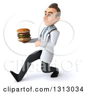 Clipart Of A 3d Unhappy Young Brunette White Male Nutritionist Doctor Speed Walking To The Left And Holding A Double Cheeseburger Royalty Free Illustration