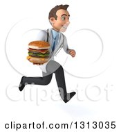 Clipart Of A 3d Happy Young Brunette White Male Nutritionist Doctor Sprinting To The Right And Holding A Double Cheeseburger Royalty Free Illustration