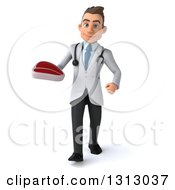 Clipart Of A 3d Young Brunette White Male Nutritionist Doctor Walking And Holding A Beef Steak Royalty Free Illustration