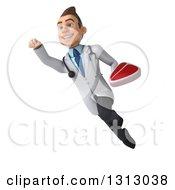 Clipart Of A 3d Young Brunette White Male Nutritionist Doctor Flying And Holding A Beef Steak 2 Royalty Free Illustration