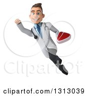 Clipart Of A 3d Young Brunette White Male Nutritionist Doctor Flying And Holding A Beef Steak Royalty Free Illustration