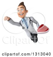 Clipart Of A 3d Young Brunette White Male Nutritionist Doctor Flying And Holding A Beef Steak 3 Royalty Free Illustration