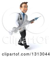 Clipart Of A 3d Young Brunette White Male Doctor Walking Slightly To The Right And Carrying A Giant Vaccine Syringe Royalty Free Illustration
