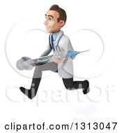 Clipart Of A 3d Young Brunette White Male Doctor Sprinting To The Left And Holding A Giant Vaccine Syringe Royalty Free Illustration
