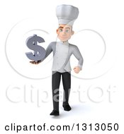 Clipart Of A 3d Young White Male Chef Walking And Holding A Dollar Symbol Royalty Free Illustration