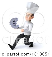 Clipart Of A 3d Young White Male Chef Speed Walking To The Left And Holding A Euro Symbol Royalty Free Illustration
