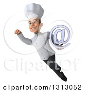 Clipart Of A 3d Young White Male Chef Flying And Holding An Email Arobase At Symbol Royalty Free Illustration