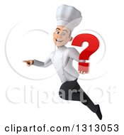 Clipart Of A 3d Young White Male Chef Flying Pointing And Holding A Question Mark Royalty Free Illustration