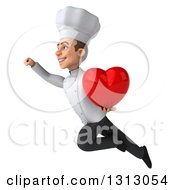 Clipart Of A 3d Young White Male Chef Flying Up To The Left And Holding A Heart Royalty Free Illustration