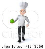 Clipart Of A 3d Young White Male Chef Walking And Holding A Green Apple Royalty Free Illustration
