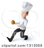 Clipart Of A 3d Young White Male Chef Speed Walking To The Left And Holding A Navel Orange Royalty Free Illustration