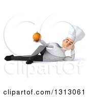 Clipart Of A 3d Young White Male Chef Resting On His Side And Holding A Navel Orange Royalty Free Illustration