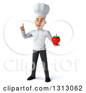Clipart Of A 3d Young White Male Chef Holding Up A Finger And A Strawberry Royalty Free Illustration