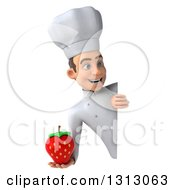 Clipart Of A 3d Young White Male Chef Holding A Strawberry Around A Sign Royalty Free Illustration