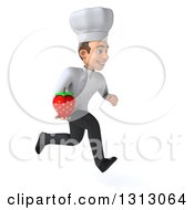 Clipart Of A 3d Young White Male Chef Sprinting To The Right And Holding A Strawberry Royalty Free Illustration