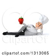 Clipart Of A 3d Young White Male Chef Resting On His Side And Holding A Strawberry Royalty Free Illustration