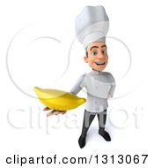 Clipart Of A 3d Young White Male Chef Holding Up A Banana Royalty Free Illustration