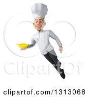 Clipart Of A 3d Young White Male Chef Floating And Holding A Banana Royalty Free Illustration