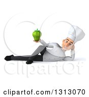 Clipart Of A 3d Young White Male Chef Resting On His Side And Holding A Green Bell Pepper Royalty Free Illustration