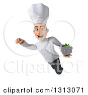 Clipart Of A 3d Young White Male Chef Flying And Holding A Blackberry Royalty Free Illustration
