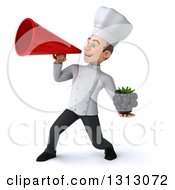 Clipart Of A 3d Young White Male Chef Holding A Blackberry And Announcing To The Left With A Megaphone Royalty Free Illustration