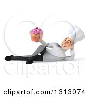 Clipart Of A 3d Young White Male Chef Resting On His Side And Holding A Cupcake Royalty Free Illustration
