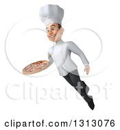 Clipart Of A 3d Young White Male Chef Floating And Holding A Pizza Royalty Free Illustration