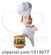 Clipart Of A 3d Young White Male Chef Holding A Double Cheeseburger Around A Sign Royalty Free Illustration