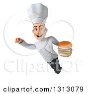 Clipart Of A 3d Young White Male Chef Flying And Holding A Double Cheeseburger Royalty Free Illustration