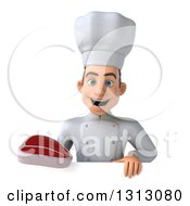 Clipart Of A 3d Young White Male Chef Holding A Beef Steak Over A Sign Royalty Free Illustration