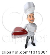 Clipart Of A 3d Young White Male Chef Holding Up A Beef Steak Royalty Free Illustration