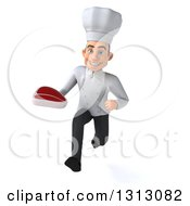 Clipart Of A 3d Young White Male Chef Sprinting And Holding A Beef Steak Royalty Free Illustration