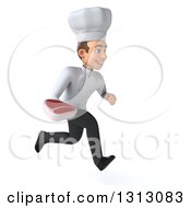 Clipart Of A 3d Young White Male Chef Sprinting To The Right And Holding A Beef Steak Royalty Free Illustration