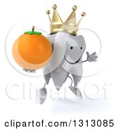 Clipart Of A 3d Happy Crowned Tooth Character Facing Slightly Right Jumping And Holding A Navel Orange Royalty Free Illustration
