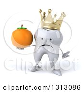 Clipart Of A 3d Unhappy Crowned Tooth Character Shrugging And Holding A Navel Orange Royalty Free Illustration