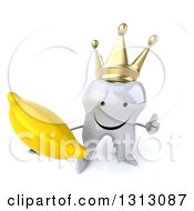 Clipart Of A 3d Happy Crowned Tooth Character Holding Up A Thumb And A Banana Royalty Free Illustration