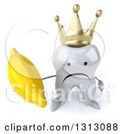 Clipart Of A 3d Unhappy Crowned Tooth Character Holding Up A Banana Royalty Free Illustration