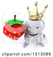 Clipart Of A 3d Happy Crowned Tooth Character Holding Up A Strawberry Royalty Free Illustration